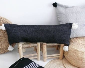 Moroccan POM POM Cotton Pillow Cover - Long - Black Diamond