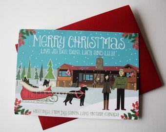 Christmas Cards (with Custom House) + Sleigh : Custom Illustrated