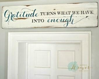 Gratitude Sign, Rustic Wall Decor, Wooden Home Sign, Farmhouse Sign