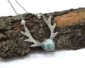Turquoise Deer Antler Necklace in Sterling Silver - Natural Turquoise Necklace - Bisbee Turquoise - Deer Jewelry