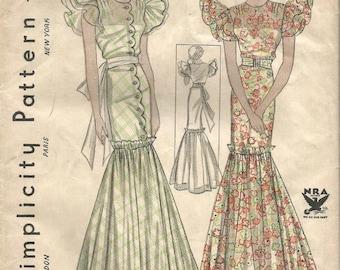 1930s Evening Gown Flounce Skirt Flutter Sleeves Mermaid Dress Unused FF Simplicity 1440 Bust 32 NRA Seal Women's Vintage Sewing Pattern