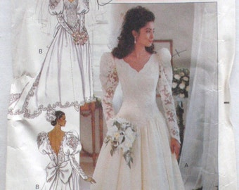 Vintage 1980's Bridal Pattern - Dropped Waist V-Neck Wedding Dress, Bridal Gown With Train - Butterick 4501 - Sizes 14-16, Bust 36-38