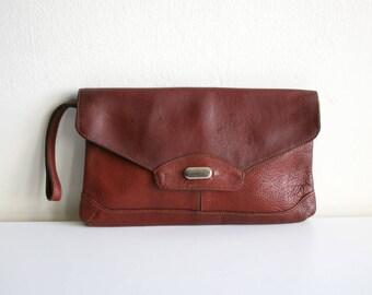 SALE Leather Clutch Makeup Bag