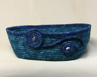Coiled Fabric Bowl, Oval, Teal and Blue