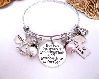 Super Sale Now Grandmother and Granddaughter Jewelry, Grandmother Granddaughter Bracelet, Personalized Grandmother Granddaughter Jewelry