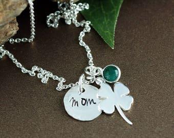 Necklace for Mom, Clover Mom Necklace, Shamrock Necklace, Four Leaf Clover Initial Necklace, Sterling Silver Shamrock Necklace