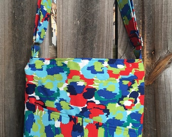 Cross Body Messenger Bag with zipper closure and lots of pockets - Blue, red and green pattern