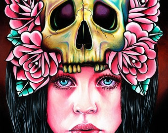 The Face of Death Art Print - 5x7, 8x10, or 11x14 - Pretty Girl Portrait With Skull and Tattoo Style Roses