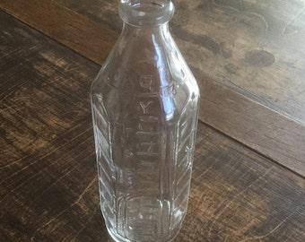Vintage Pyrex 6 Sided Nursing Bottle, 8 oz. Narrow Neck Glass Baby Bottle, Vintage Baby Milk Bottle