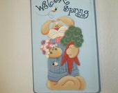 Welcome Spring Bunny Cookie Sheet - Welcome Spring - Bunny with Carrots