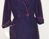 40s, 50s Robe, Dressing Gown, Quilted, Navy, Hot Pink Lining, Lucy, Full Skirt, Saybury? Size S/M