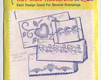 Set of 4 FLOWER Designs - Sold as a Group Only - Hot Iron Embroidery Transfers-Aunt Martha's-USED & Some MISSING in Open Packaging-Sale!
