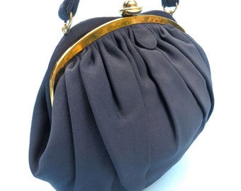 Vintage 1950's/Navy Blue Faille Purse/50's Navy Fabric Purse/Navy Fabric Handbag/Morris Moskowitz