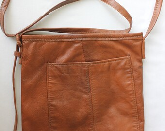 Leather cross body bag / Brown  Leather cross body bag/ small leather cross body  tote bag