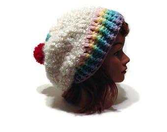 Pastel Cupcake Hat, Slouchy Cupcake Hat, Kawaii Cupcake, Cupcake Cosplay, Cupcake Beanie, Dessert Hat, Food Hat, Pastel Rainbow, Rainbows