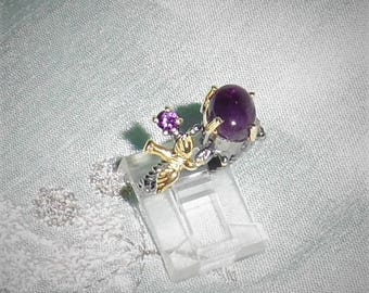 Natural 24 TCW Amethyst gemstones with 14kt gold bird, Black Rhodium, Sterling Silver Ring size FREESIZE