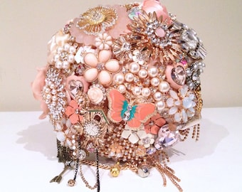 Made to order Coral / Peach Jewel Junkie Bridal Brooch Bouquet