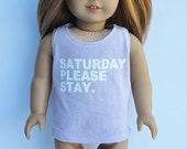 AG Doll Clothes - Graphic Tee - Saturday Please Stay, Orchid, Scoop Tank, Top, T-shirt, 18 inch
