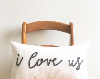I love us pillow cover, gift for couples, typography, word pillow, wedding gift, newlywed gift, cushion cover, throw pillow