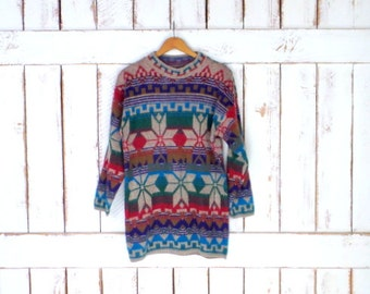 Vintage colorful striped snowflake wool knit cabin pullover tunic sweater/chunky woven winter ski sweater/tribal/Aztec sweater