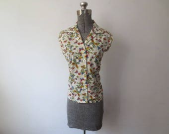 Vintage '50s/'60s Sears Perma-Prest Paper Thin Cotton, Sleeveless, Butterfly & Floral Print Button Down Blouse, 40 Inch Bust