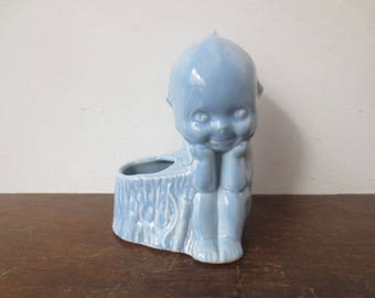 Vintage '50s McCoy Kewpie Planter, Powder Blue Glazed Nursery Planter