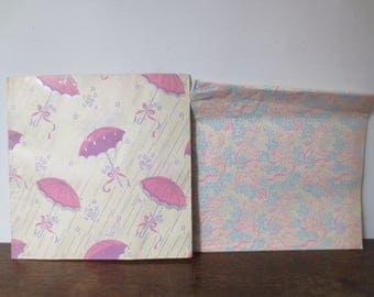 RESERVED! Vintage '50s Deadstock 2 Packs of Baby Shower Themed Wrapping Paper, NOS!