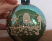 RESERVED Vintage Humpty Dumpty Blue Mercury Glass Ball Ornament