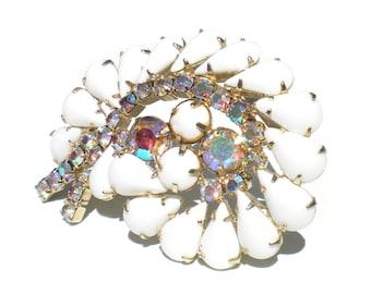 Milk Glass Brooch with Aurora Borealis Rhinestones Teardrop Glass Stones - Formal Vintage Jewelry