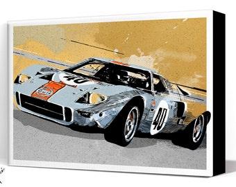 Car Art - Ford GT40 - Canvas Art Print, Automobile Art, Car Gift, Garage Decor, Man Cave Art, Race Car, Large Canvas Art, Garage Art