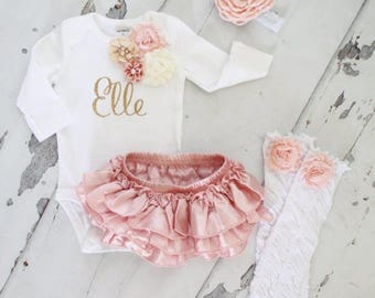 Newborn Baby Girl Coming Home Outfit Set of up to 4 Items, Blush Ruffle Diaper Cover, Rose Leg Warmers, Personalized Floral Bodysuit. Summer