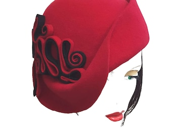 Red Black wool felt cloche avant garde style asymmetrical brim hat modern take on vintage style