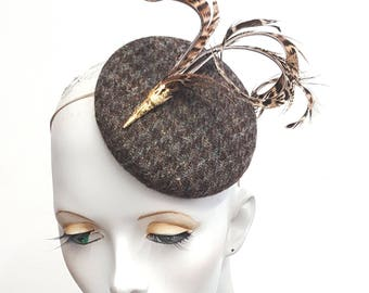 Harris tweed and pheasant feather fascinator hat  - country house style - winter wedding - elastic fixing - suitable races