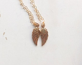 Dainty Best Friends Necklaces, Angel Wing Necklaces, Memorial Necklaces, Tiny Angel Wing Charm Necklace, Friendship Necklace, BFF Jewelry