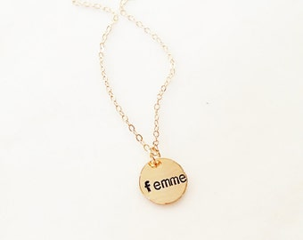 Femme Necklace // Gay Pride // LGBTQ Jewelry // Gender Queer // Lesbian Jewelry// Gay Lesbian // Gay Pride // Queer Pride // Feminist