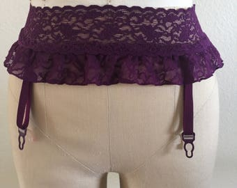 Victoria's Secret Purple Plum Lace Garter Belt - Size XS/S