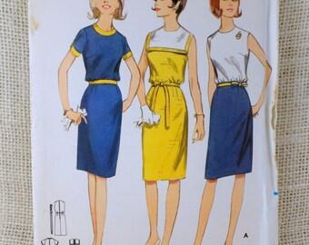 Vintage Pattern Butterick 3888 1960s shift dress Bloused bodice belted contrasting trim pilgrim collar Bust 32
