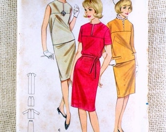 Vintage Pattern Butterick 3208 1960s Ladies Shift dress suit Bust 32 Jackie Jacqueline Kennedy Onassis notch collar