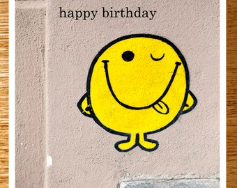 Unique Smiley Face Birthday Card, Happy Birthday Card, Winking Smiley Face Birthday Card, Paris Street Art Birthday Card, Yellow Face Card