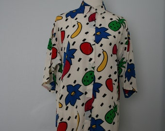Vintage Shirt / 80's Oversized Silk Blouse / Medium / Short sleeve button up / Memphis style fruit print /White, blue, green, yellow, black