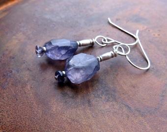 sundance style jewelry. iolite earrings. SILENT MEMORIES. Karen Hill Tribe silver earrings. violet blue periwinkle earrings. stone earrings.