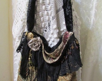 Small Tapestry HandBag, brown gold earth tones, thick velvet chenille fabric bag, beads buttons black lace embellished black fringe
