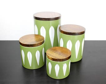 Vintage Green Cathrineholm Kitchen Canister Set, Lotus Countertop Storage Coffee, Tea, Sugar, Flour Mid Century Avocado Kitchen Decor 180089