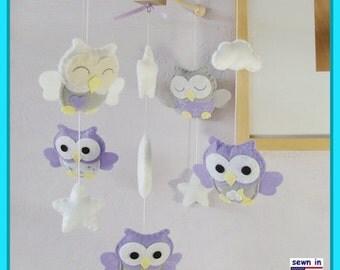 Owl Baby Mobile,Owl Mobile, Lavender Nursery Mobile, Kids Room Decor, White Starry Night Cot Mobile, Custom Mobile