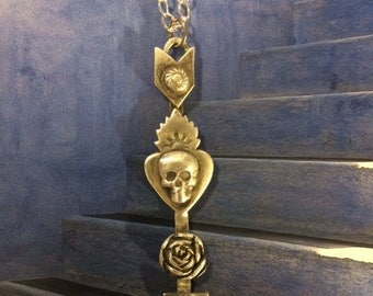 Sterling Silver Arrow Skull and Rose Pendant
