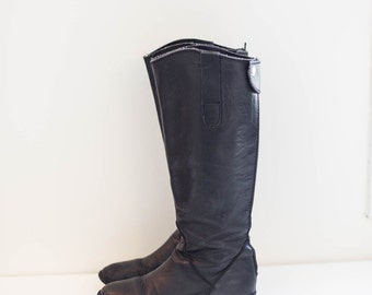 black leather riding boots - fashion boots - high calf - women's size 7.5