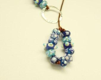 Larait Necklace-Lampwork Bead Necklace- Women's Jewelry-Leather Larait Necklace-Bead Necklace-Y Necklace-Leather Jewelry-Glass Bead Necklace