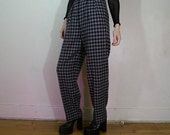 90s Anne Klein gingham gray and navy wool pants listed as a size 10