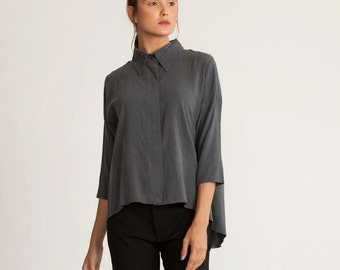 Gray oversize top, plus size tunic, asymmetrical oversize tunic, loose fit long shirt, gift for her, buttoned down blouse, collar top, sale