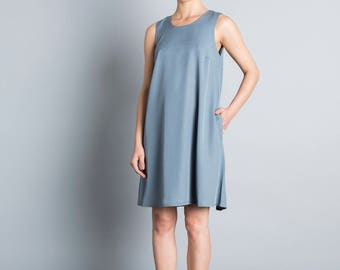 Summer dress,  loose fit, A cut, blue knee length dress, sleeveless short dress, minimal day dress, classic dress, gray oversize sundress
